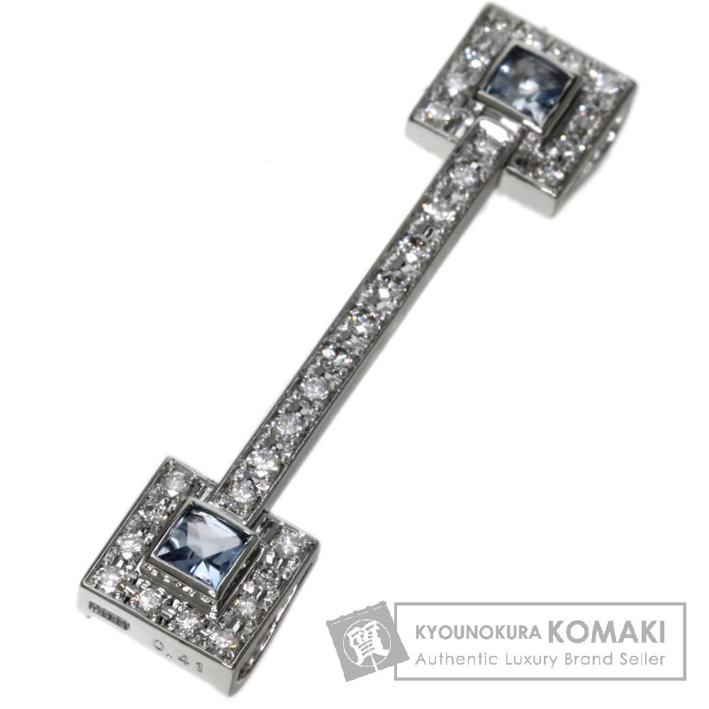 0.41ct アクアマリン/ダイヤモンド ブローチ プラチナPT900 5.4g レディース 【中古】