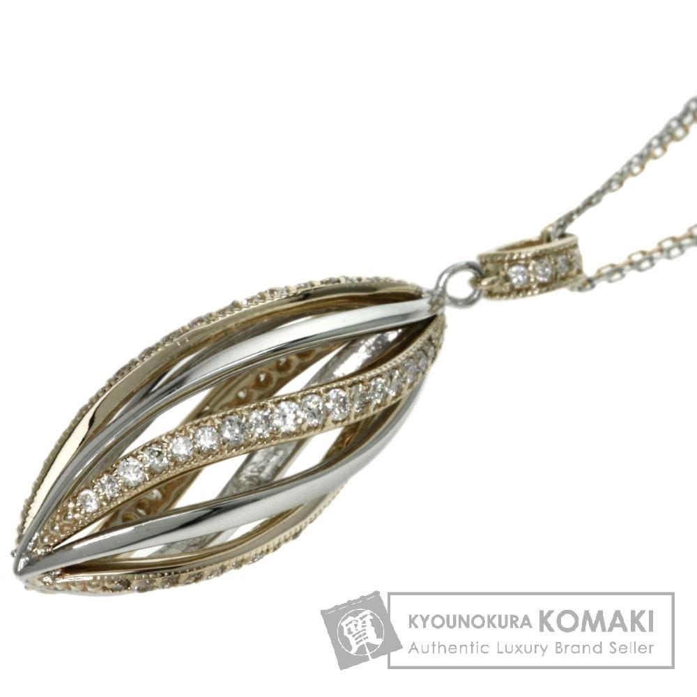 0.5ct ダイヤモンド ネックレス K18ピンクゴールド/PT900/PT850 6.2g レディース 【中古】