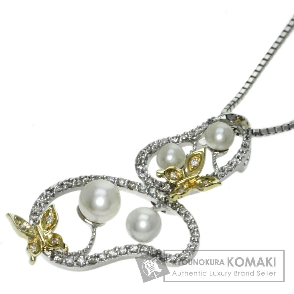 0.3ct パール/真珠 ダイヤモンド ネックレス K18ホワイトゴールド/K18YG 8.2g レディース 【中古】