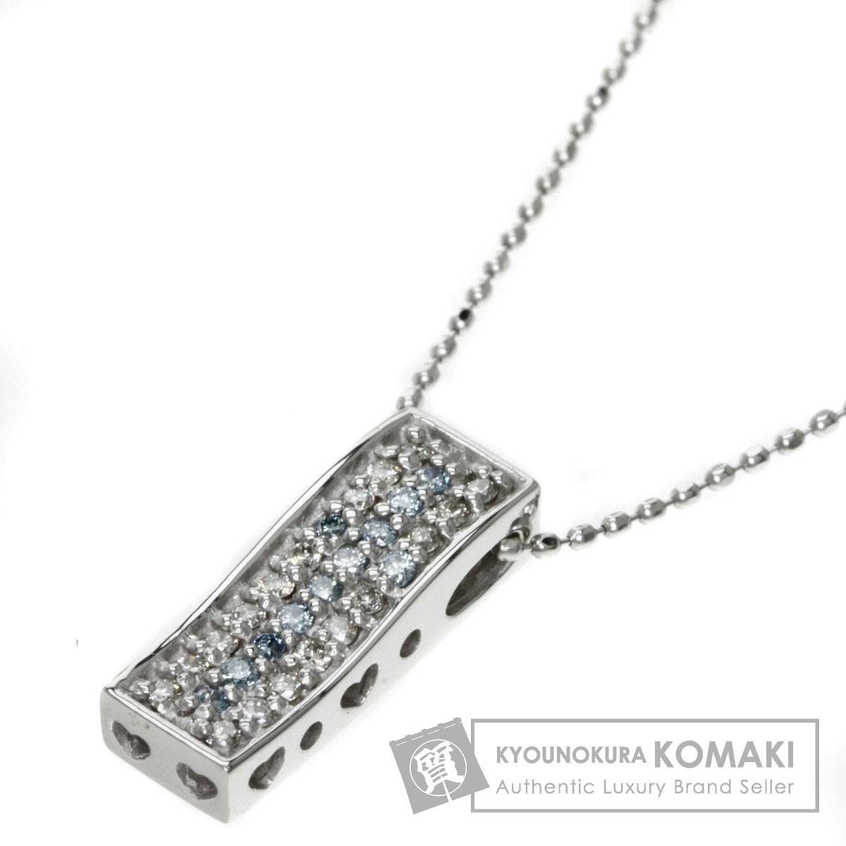 0.2ct ダイヤモンド ネックレス K18ホワイトゴールド 3.37g レディース 【中古】