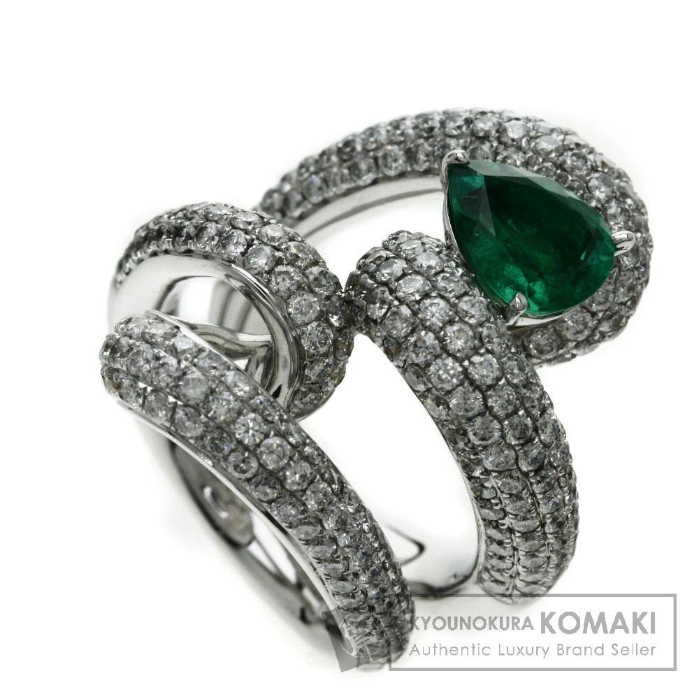 1.6ct エメラルド/ダイヤモンド リング・指輪 K18ホワイトゴールド 23.4g レディース 【中古】