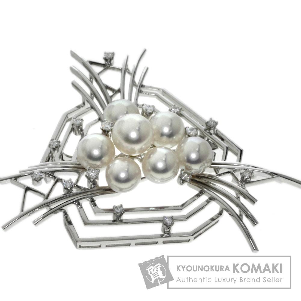 MIKIMOTO 真珠/ダイヤモンド ブローチ K14ホワイトゴールド レディース 【中古】【ミキモト】