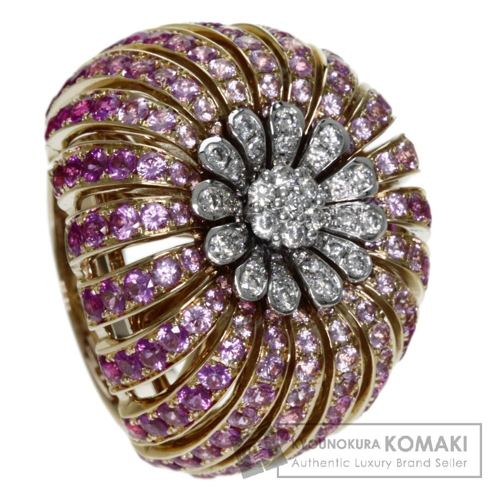 0.40ct ピンクサファイア/ダイヤモンド リング・指輪 K18イエローゴールド 18g レディース 【中古】