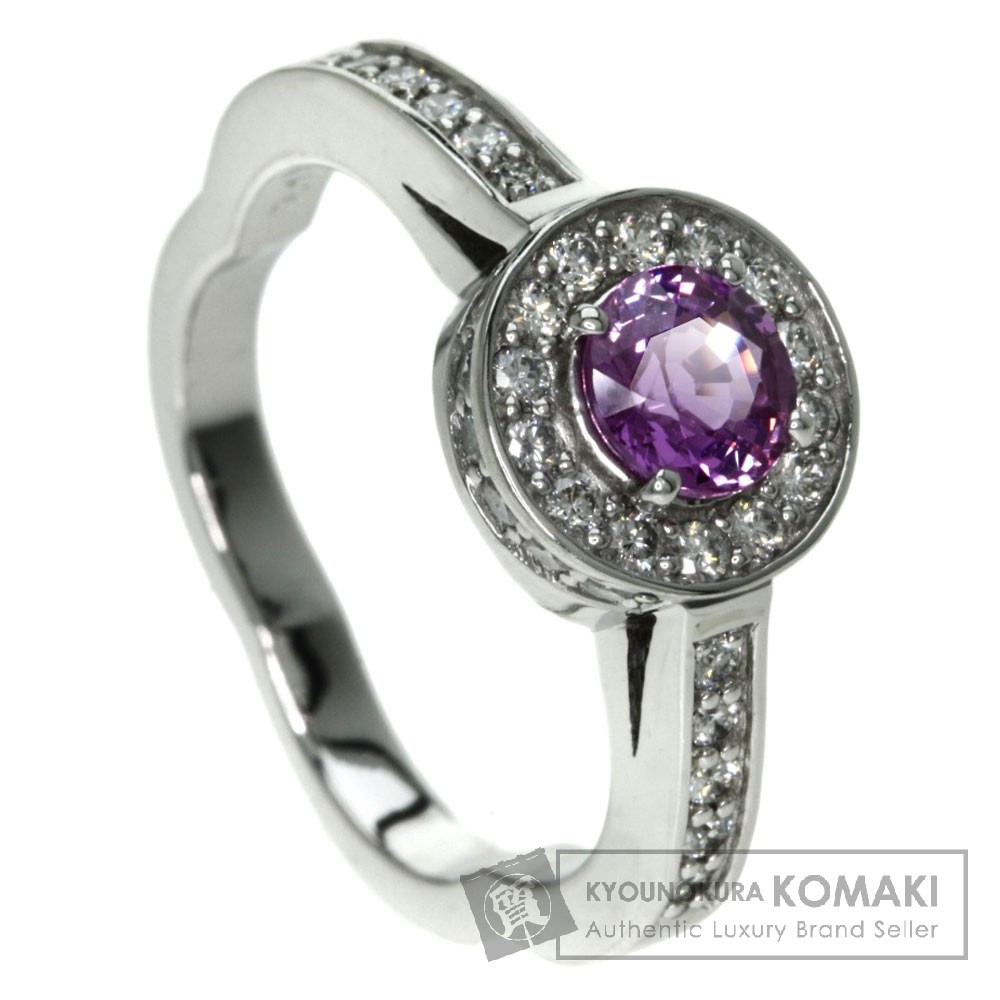 0.759ct ピンクサファイア/ダイヤモンド リング・指輪 K18ホワイトゴールド 6.4g レディース 【中古】