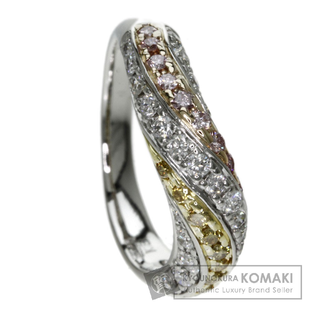 0.60ct ダイヤモンド/ピンクダイヤモンド/イエローダイヤモンド リング・指輪 プラチナPT900/K18 7g レディース 【中古】