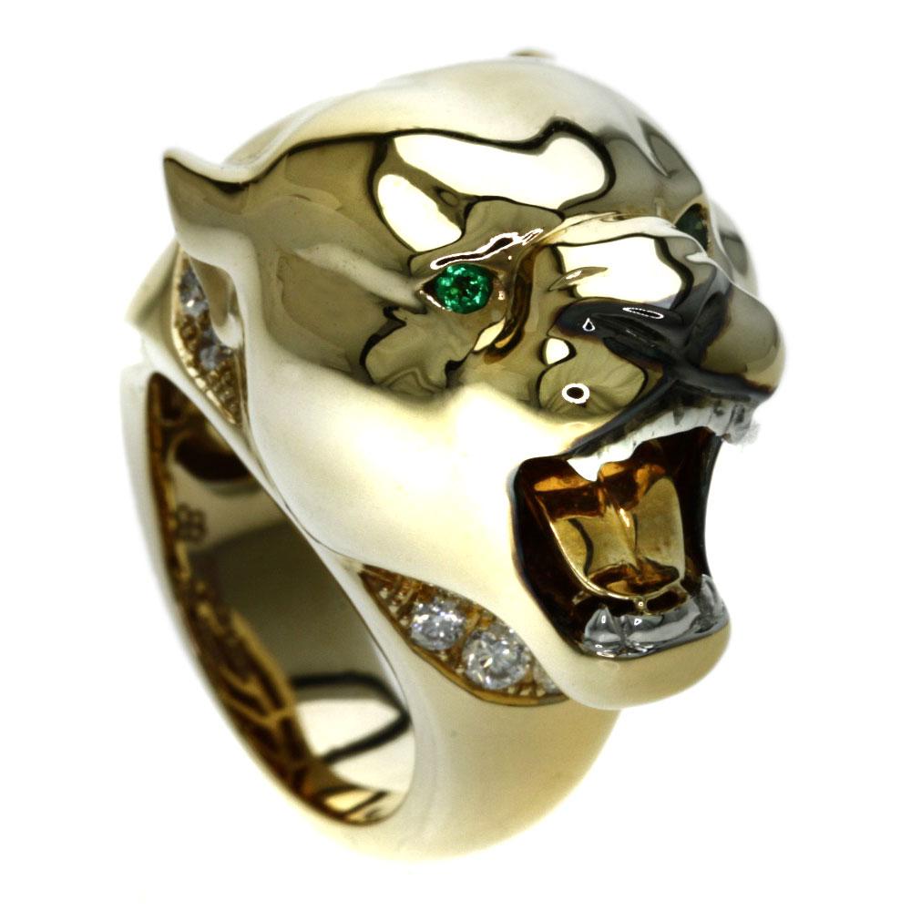 STENZHORN エメラルド/ダイヤモンド パンサー リング・指輪 K18イエローゴールド レディース 【中古】【ステンツォーン】