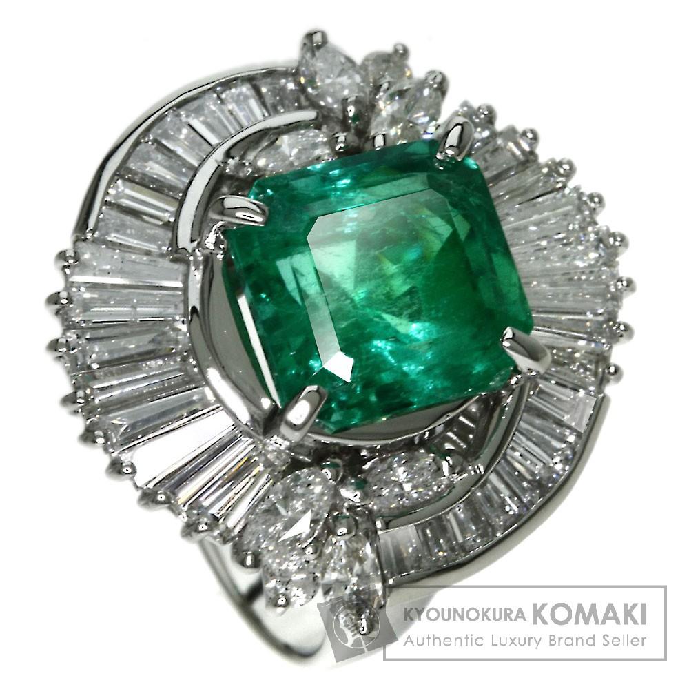 3.743ct エメラルド/ダイヤモンド リング・指輪 プラチナPT900 9.6g レディース 【中古】