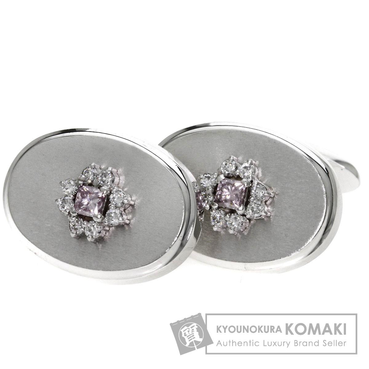 0.178ct ダイヤモンド カフス K14ホワイトゴールド 8.9g メンズ 【中古】