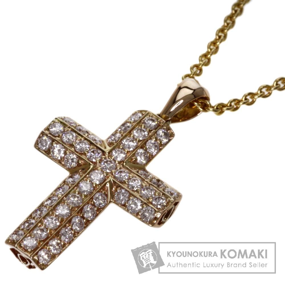 0.74ct ダイヤモンド クロス ネックレス K18イエローゴールド 6.3g レディース 【中古】