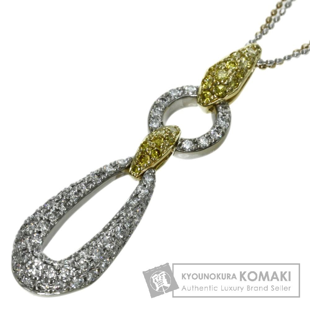1.07ct ダイヤモンド ネックレス K18ホワイトゴールド/K18YG 7.66g レディース 【中古】