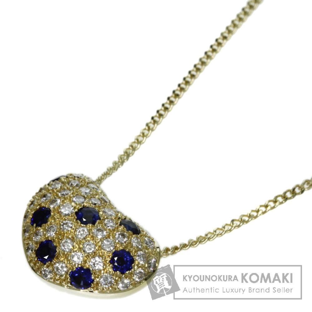 0.3ct サファイア/ダイヤモンド ネックレス K18イエローゴールド 5.9g レディース 【中古】