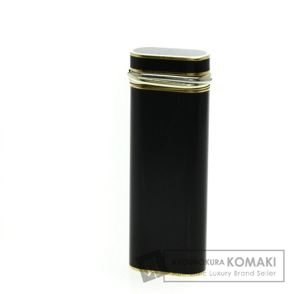 CARTIER スリーリング ブラックラッカー ライター 金属製 メンズ 【中古】【カルティエ】