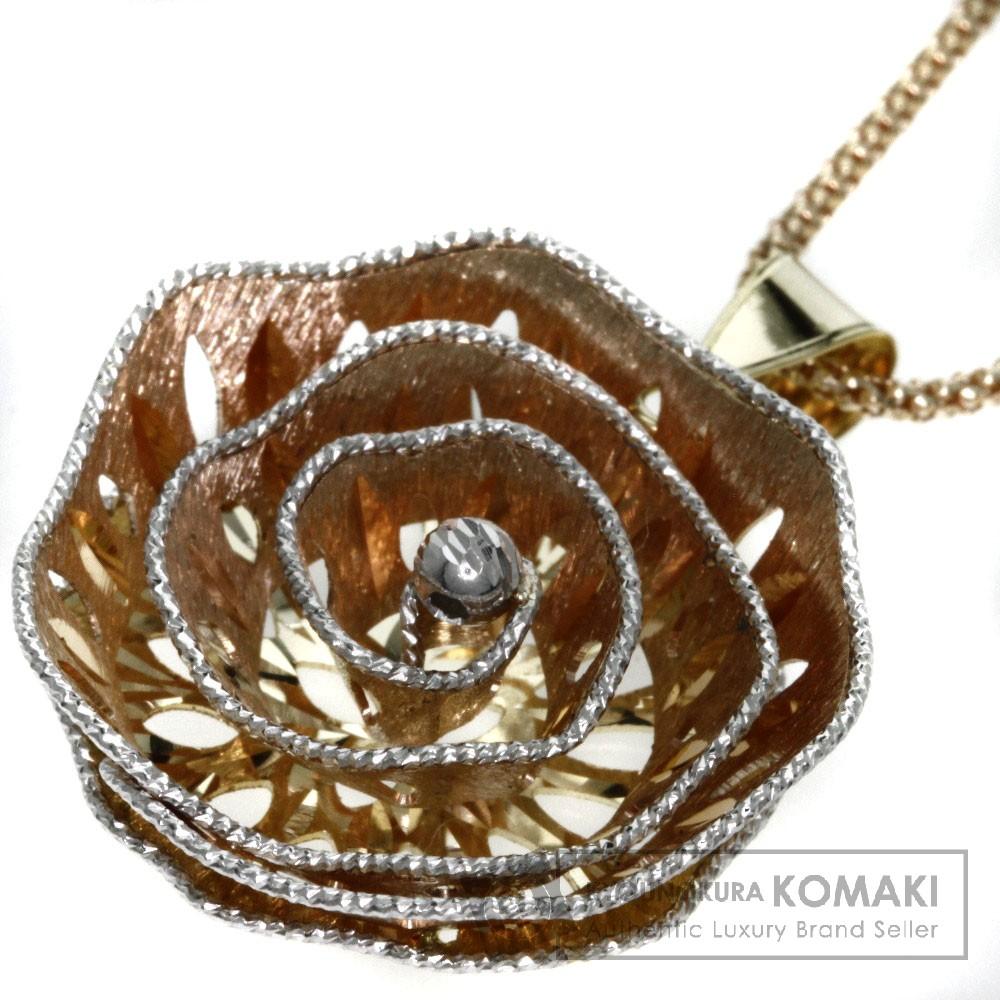 ローズ ダイヤモンド ネックレス K18ピンクゴールド/K18WG/K18YG 7.6g レディース 【中古】