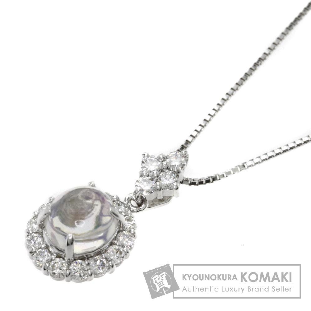 1.39ct ウォーターオパール/ダイヤモンド ネックレス K18ホワイトゴールド 4.7g レディース 【中古】