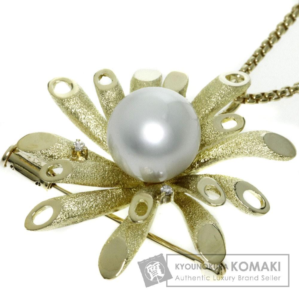0.03ct パール/真珠 ダイヤモンド ブローチ ネックレス K18イエローゴールド 15g レディース 【中古】