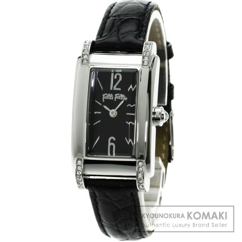 Folli Follie WF5T162SP 腕時計 ステンレス/革 レディース 【中古】【フォリフォリ】