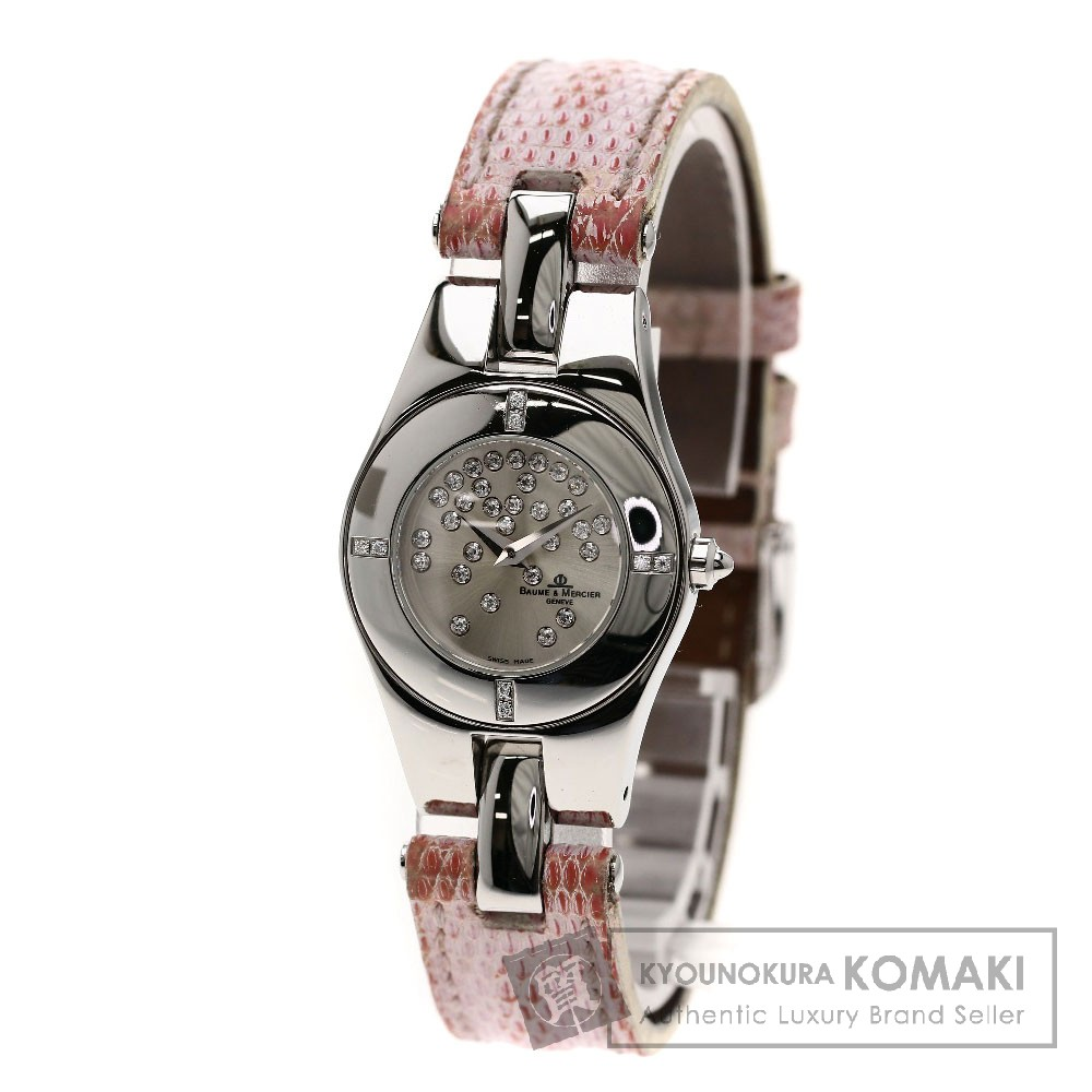 Baume & Mercier リネア ダイヤモンド 腕時計 ステンレス/革 レディース 【中古】【ボーム&メルシェ】