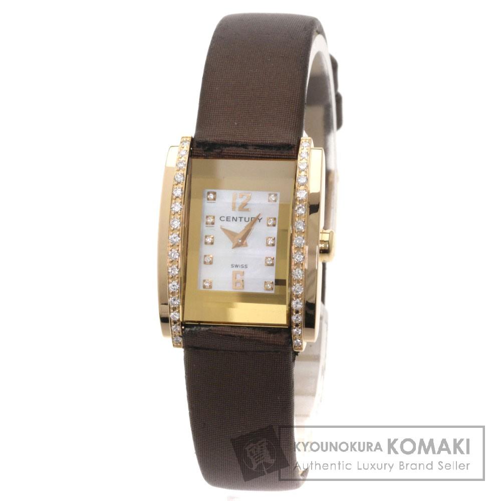 CENTURY タイムジェム ダイヤモンド 腕時計 K18ピンクゴールド/革 レディース 【中古】【センチュリー】