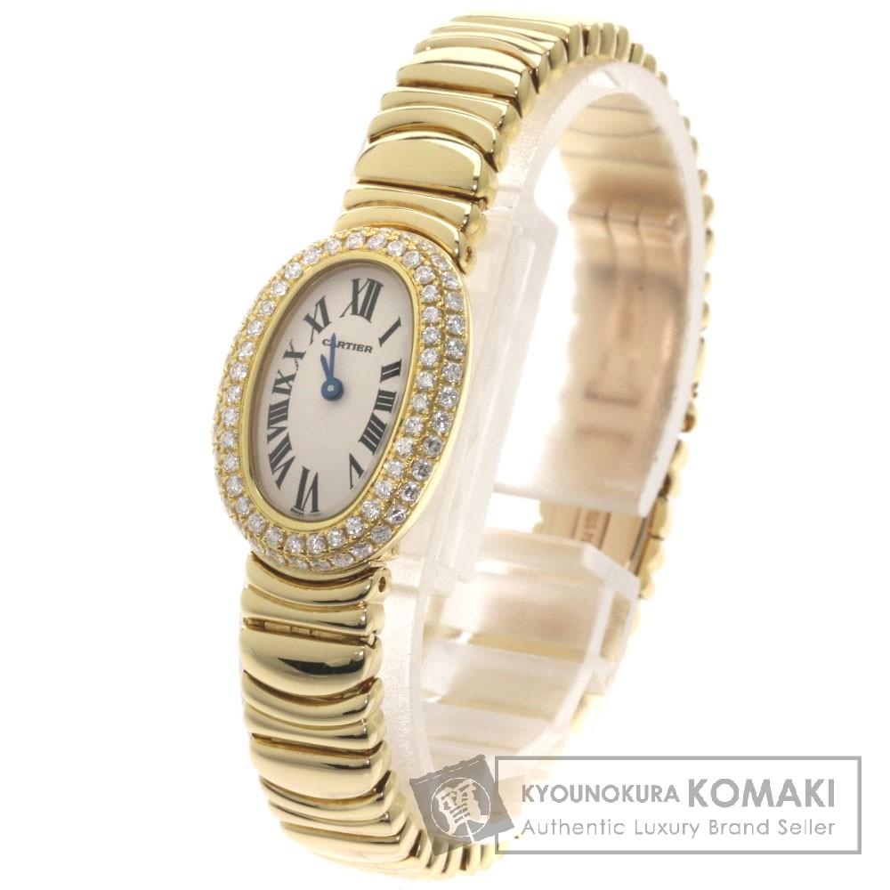 CARTIER ミニベニュワール ダイヤモンド 腕時計 OH済 K18イエローゴールド/K18YG レディース 【中古】【カルティエ】