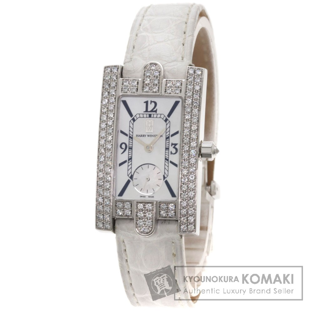 HARRY WINSTON 310LQW レディアヴェニュー 腕時計 OH済 K18ホワイトゴールド/アリゲーター レディース 【中古】【ハリーウィンストン】