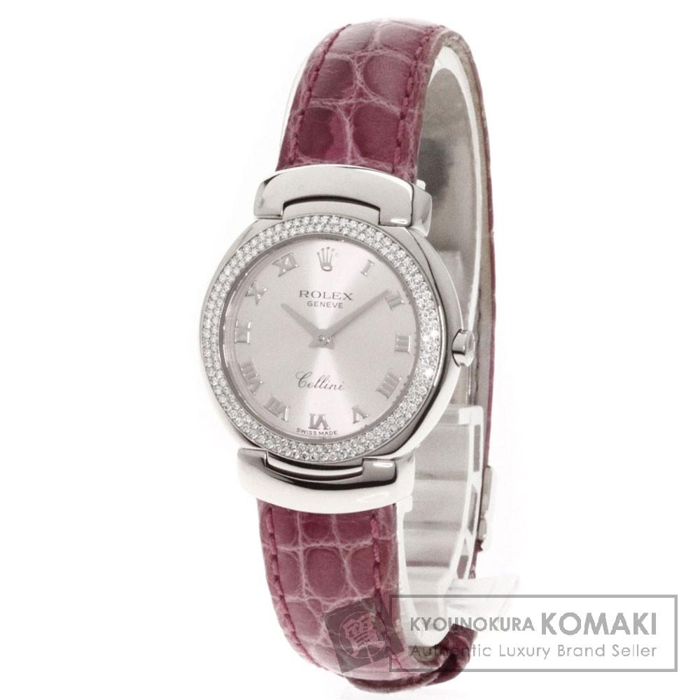 ROLEX 6671/9 チェリーニ 腕時計 K18ホワイトゴールド/アリゲーター/ダイヤモンド レディース 【中古】【ロレックス】