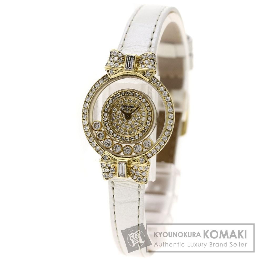Chopard ハッピーダイヤモンド リボン 腕時計 K18イエローゴールド/革 レディース 【中古】【ショパール】