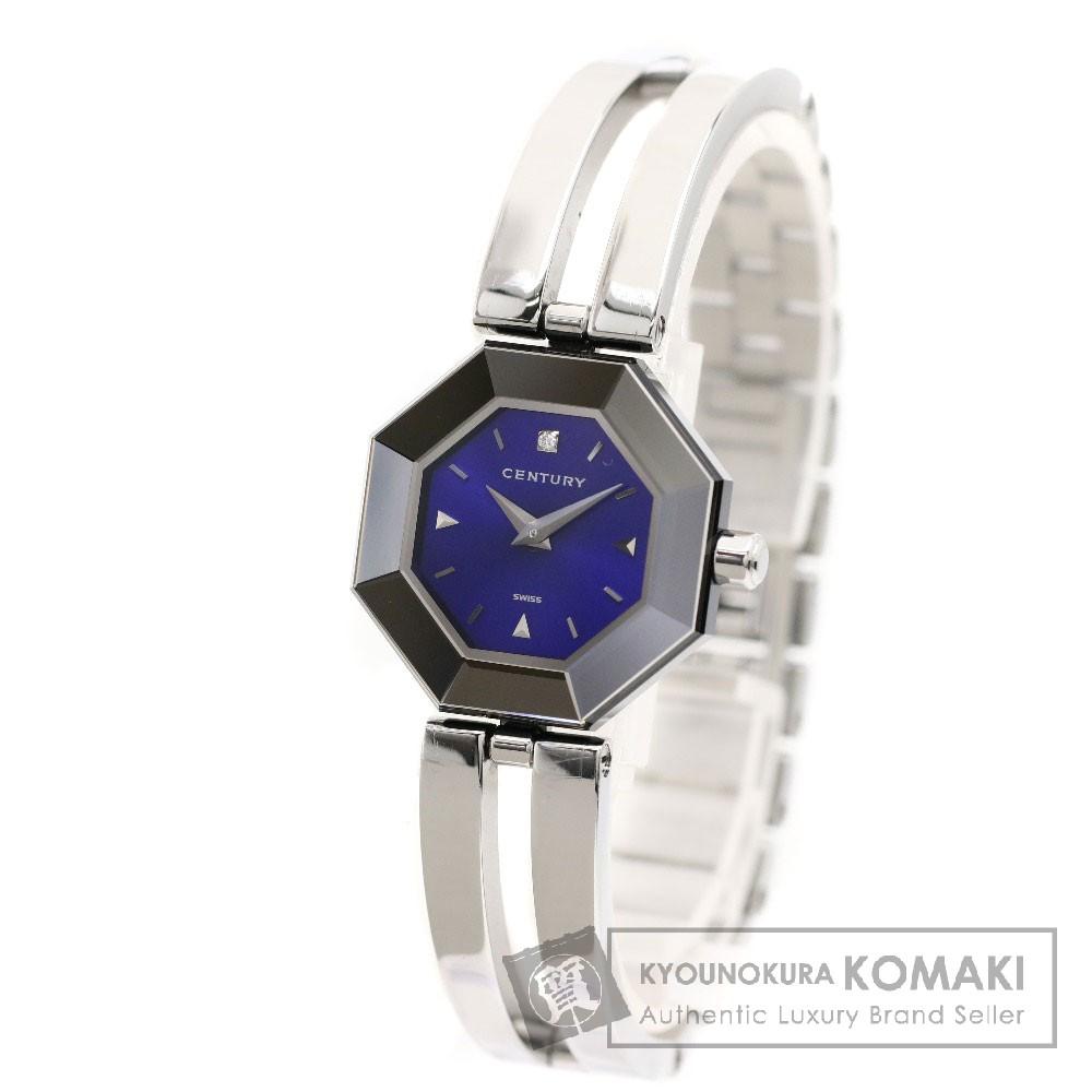 CENTURY ラッキーエイト 1Pダイヤモンド 腕時計 ステンレス レディース 【中古】【センチュリー】