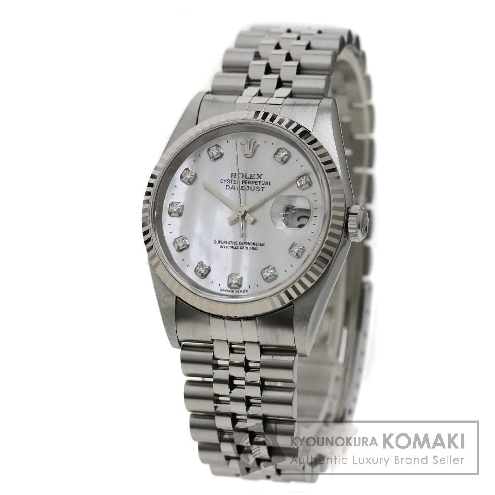 ROLEX 16234NG デイトジャスト 10Pダイヤモンド 腕時計 OH済 ステンレス メンズ 【中古】【ロレックス】