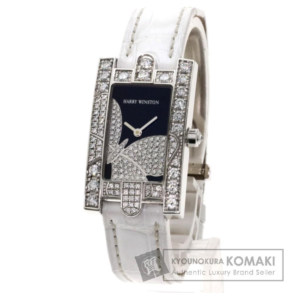 HARRY WINSTON 310LQW アベニュー 腕時計 K18ホワイトゴールド/革/ダイヤモンド レディース 【中古】【ハリーウィンストン】