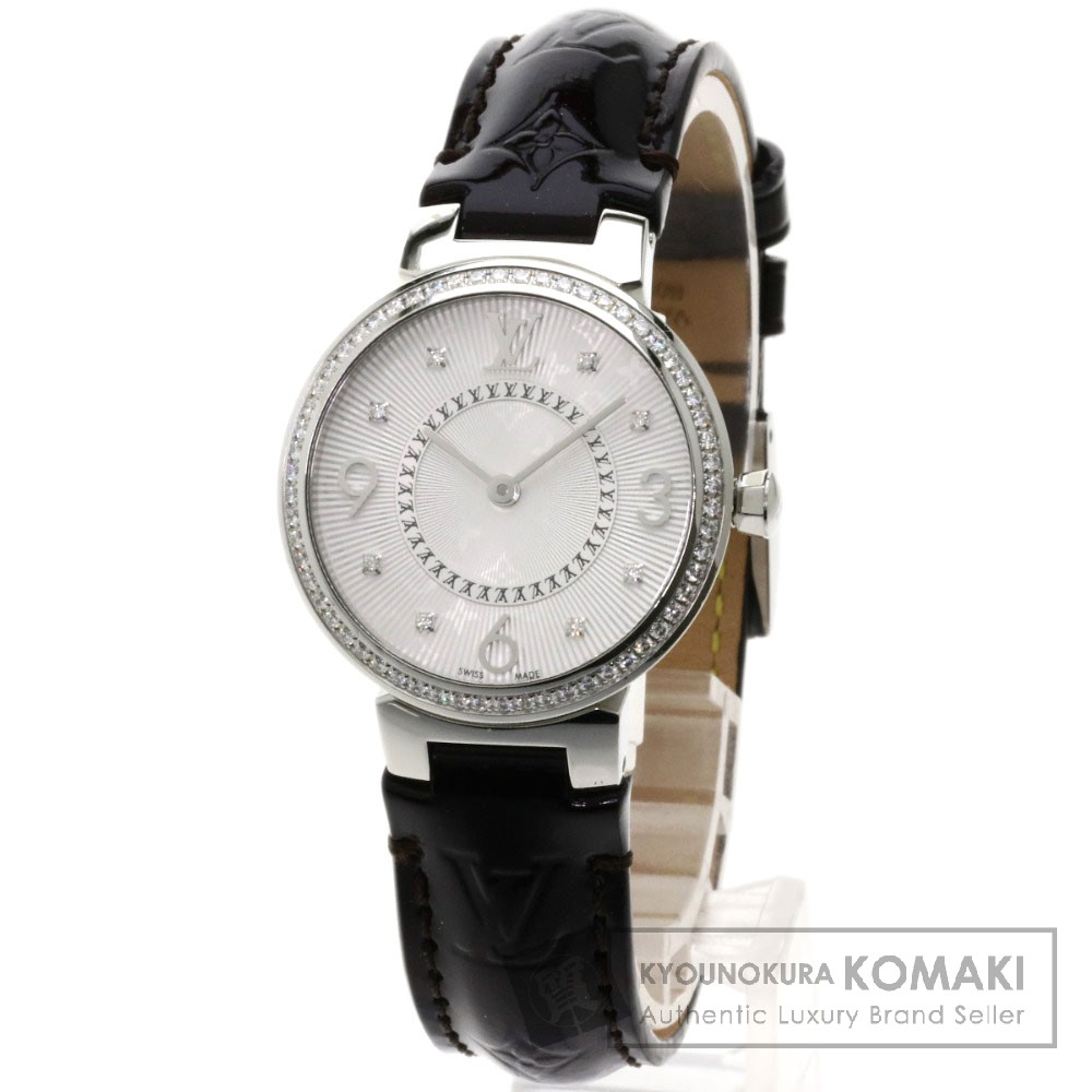 LOUIS VUITTON Q12MF タンブール モノグラム PM 腕時計 ステンレス/ヴェルニレザー レディース 【中古】【ルイ・ヴィトン】