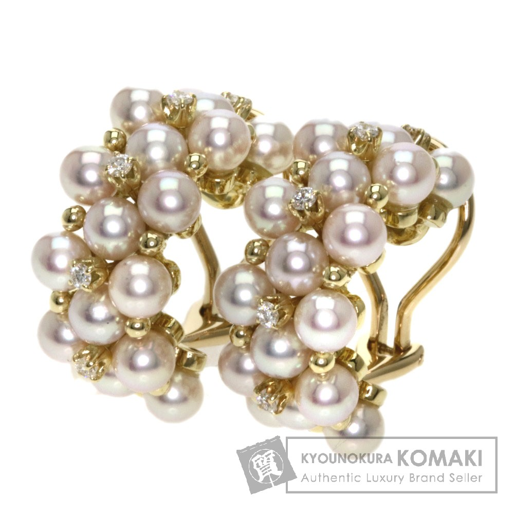 MIKIMOTO パール/真珠 ダイヤモンド イヤリング K18イエローゴールド レディース 【中古】【ミキモト】