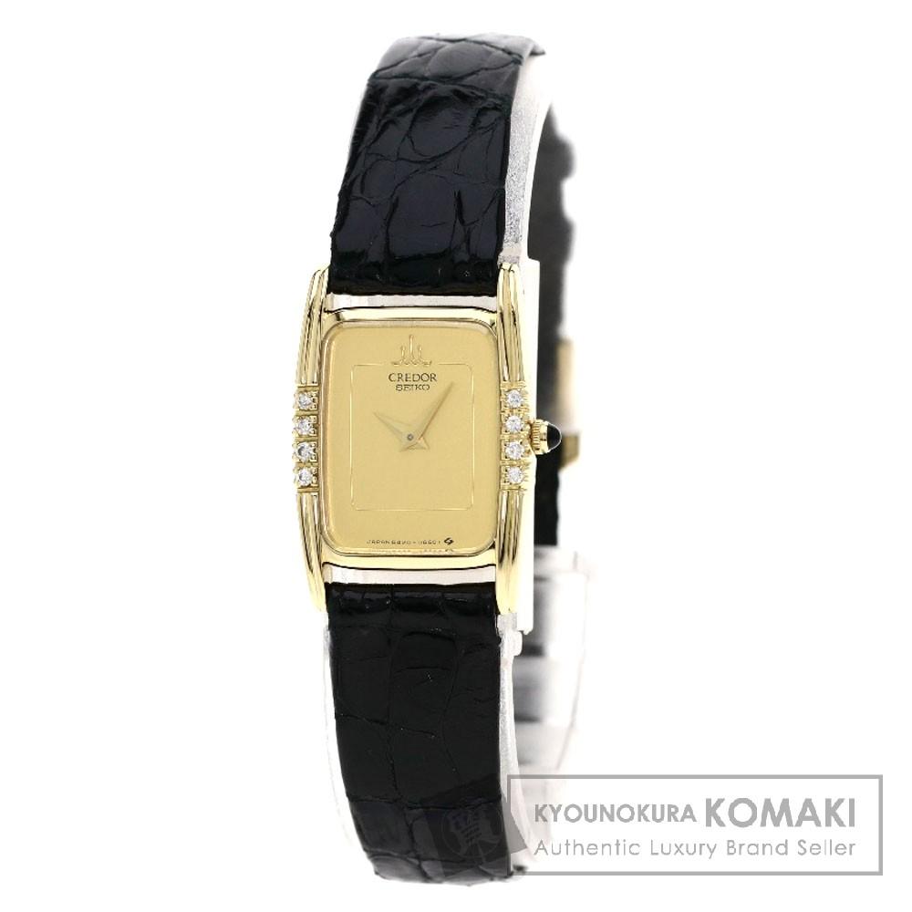 SEIKO 84206330 クレドール ダイヤモンド 腕時計 K18イエローゴールド/革 レディース 【中古】【セイコー】