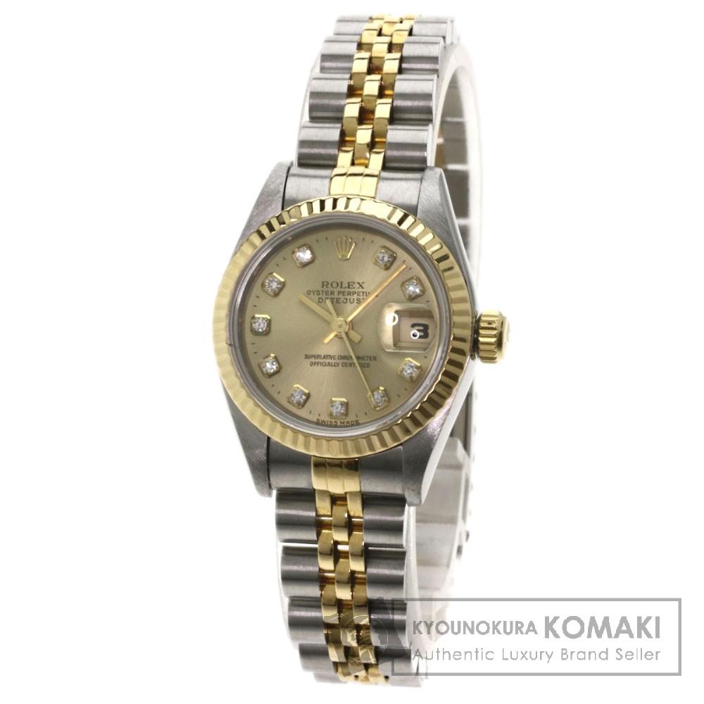 ROLEX 69173G デイトジャスト 10Pダイヤモンド 腕時計 OH済 ステンレス/K18YG レディース 【中古】【ロレックス】