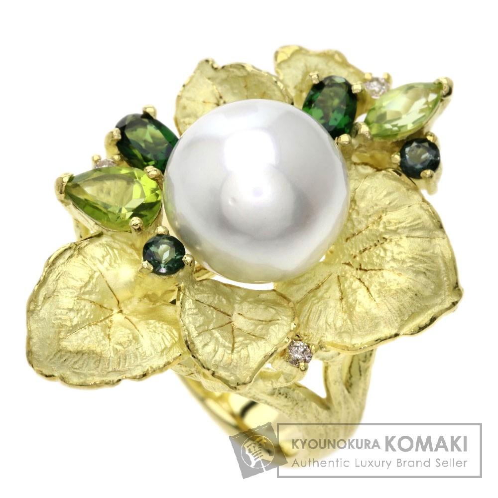 0.05ct 真珠/ダイヤモンド/ペリドット/トルマリン リング・指輪 K18イエローゴールド 15.4g レディース 【中古】