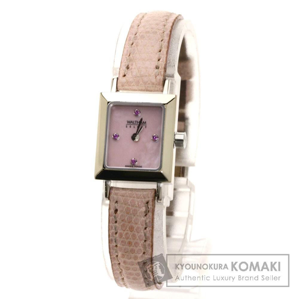 WALTHAM ピンクサファイア 腕時計 K18ホワイトゴールド/革 レディース 【中古】【ウォルサム】