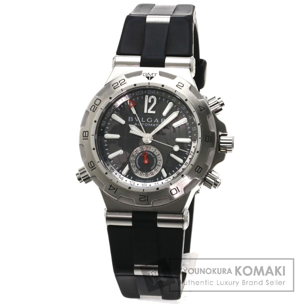 BVLGARI DP42SGMT ディアゴノ 腕時計 OH済 ステンレス/ラバー メンズ 【中古】【ブルガリ】