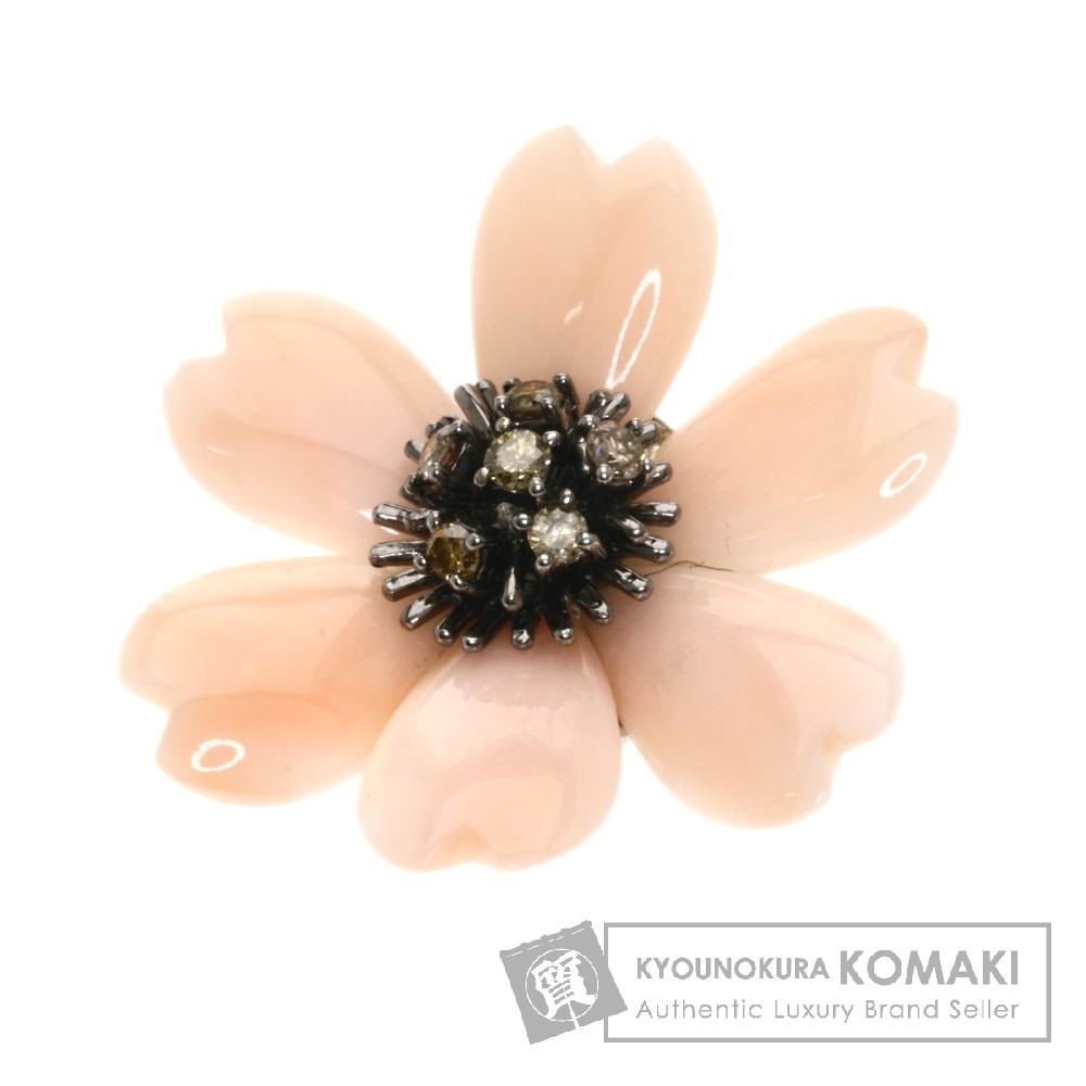 18.4ct サンゴ/ダイヤモンド ブローチ K18ホワイトゴールド 9.2g レディース 【中古】