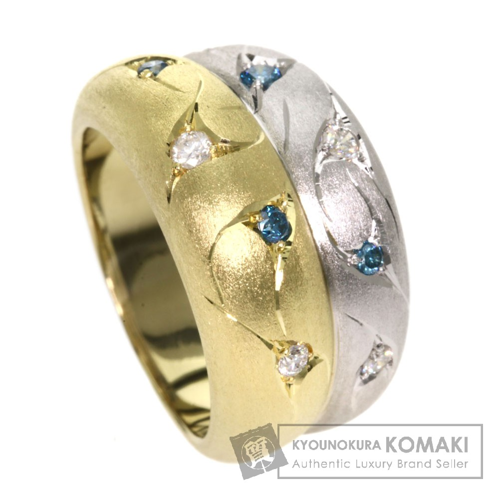 0.22ct ダイヤモンド/ファンシーカラーダイヤモンド リング・指輪 K18イエローゴールド/Pt900 16.2g レディース 【中古】