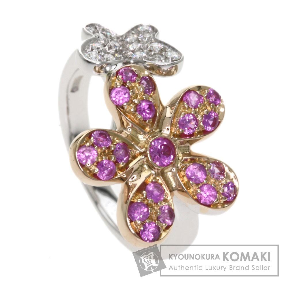 0.6ct ピンクサファイア/ダイヤモンド リング・指輪 K18ホワイトゴールド 6.7g レディース 【中古】