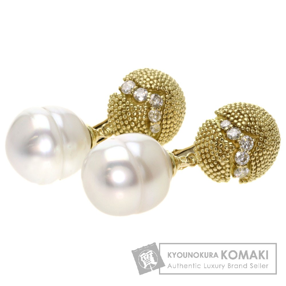 0.26ct パール/真珠 ダイヤモンド イヤリング K18イエローゴールド 18.1g レディース 【中古】