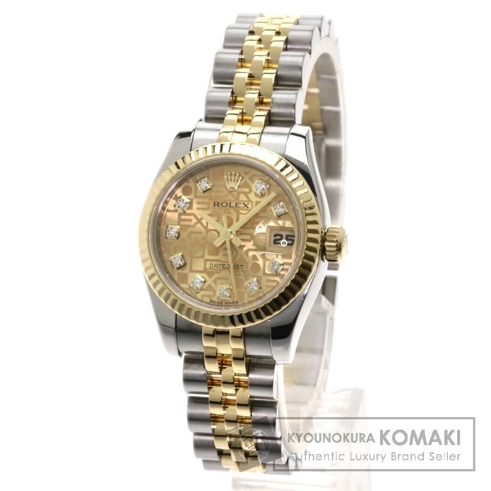 ROLEX 179173G デイトジャスト 10Pダイヤモンド 腕時計 OH済 ステンレス/SSxK18PG レディース 【中古】【ロレックス】