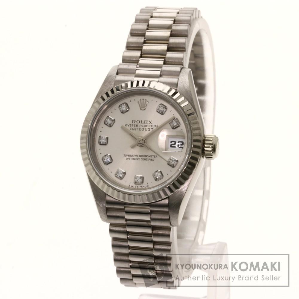 ROLEX 69179G デイトジャスト 10Pダイヤモンド 腕時計 OH済 K18ホワイトゴールド/K18WG レディース 【中古】【ロレックス】