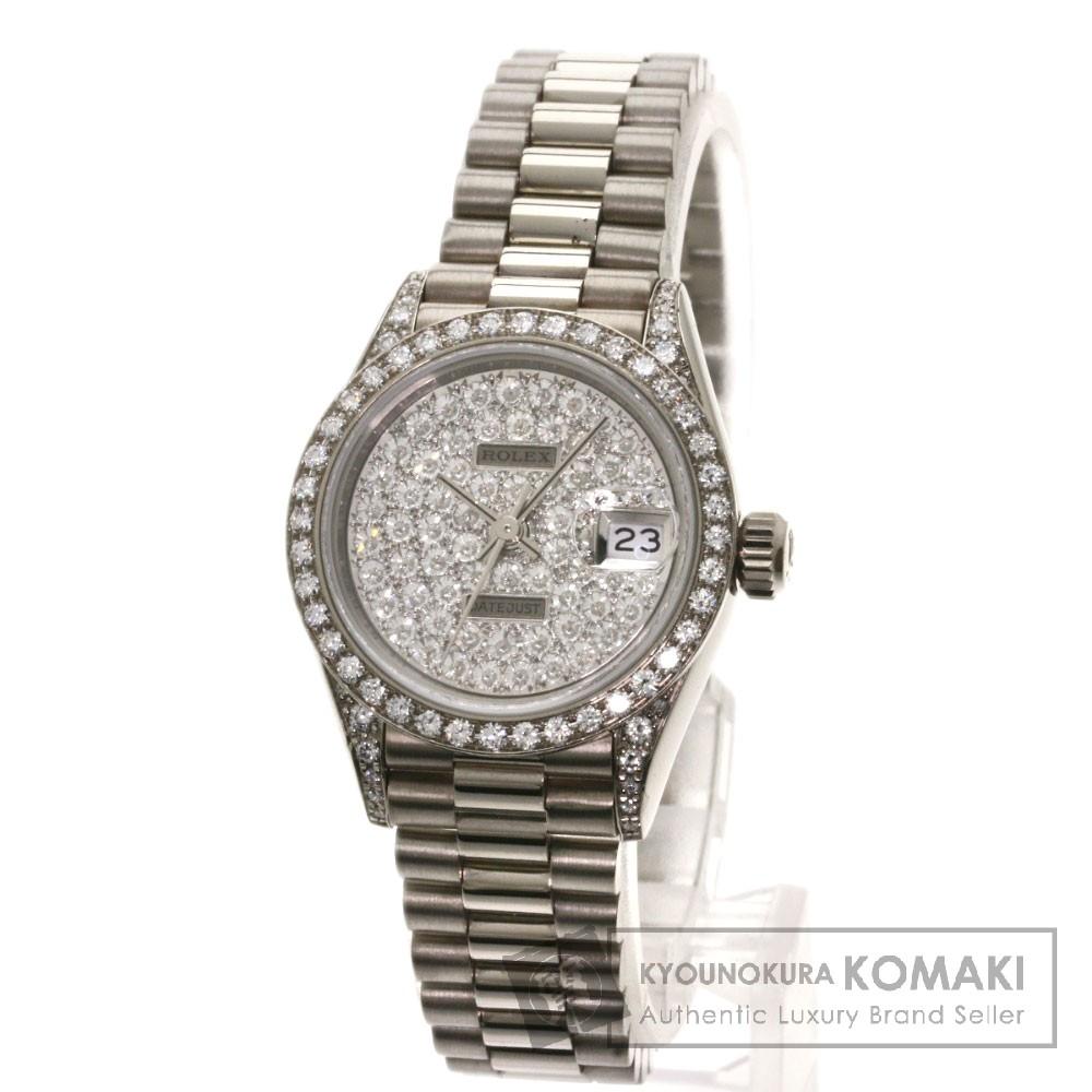 ROLEX 69159 デイトジャスト 腕時計 OH済 K18ホワイトゴールド/K18WG/ダイヤモンド レディース 【中古】【ロレックス】