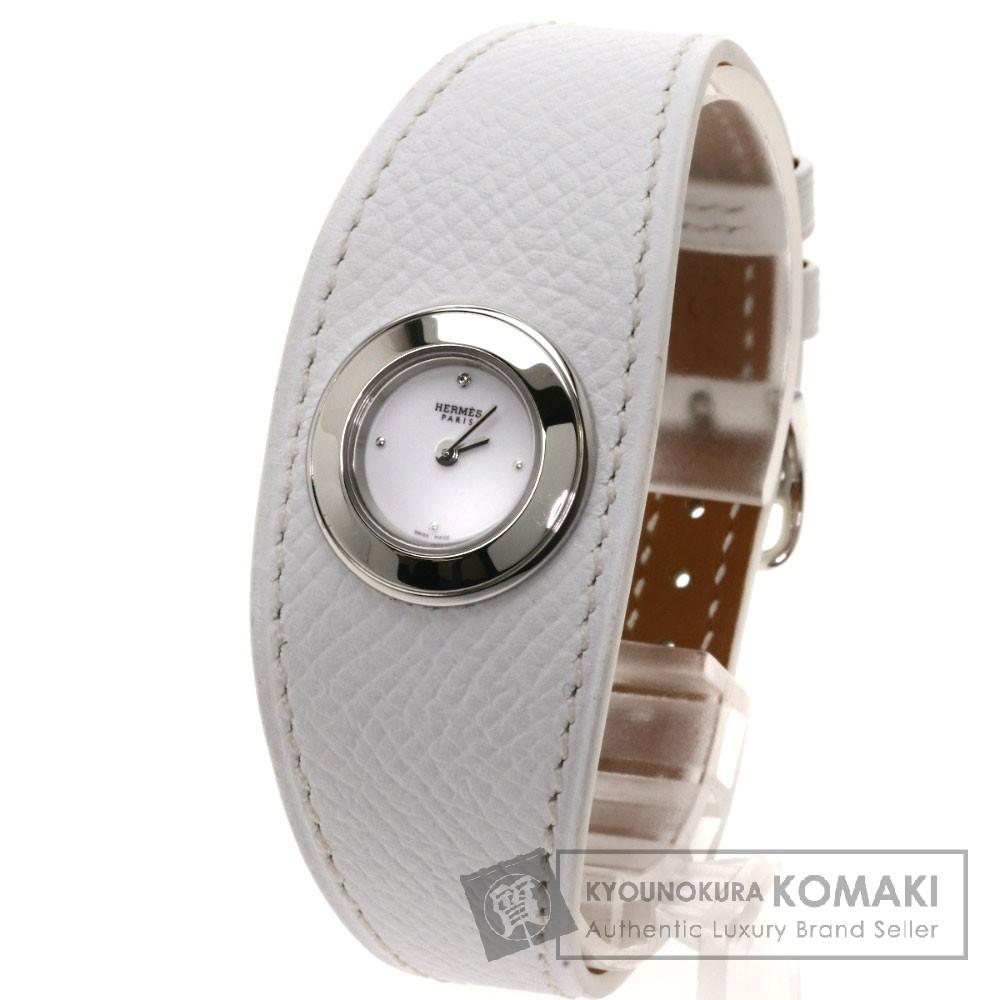 HERMES FG2.110 フォーブル マンシェット 1Pダイヤモンド 腕時計 ステンレス/革 レディース 【中古】【エルメス】
