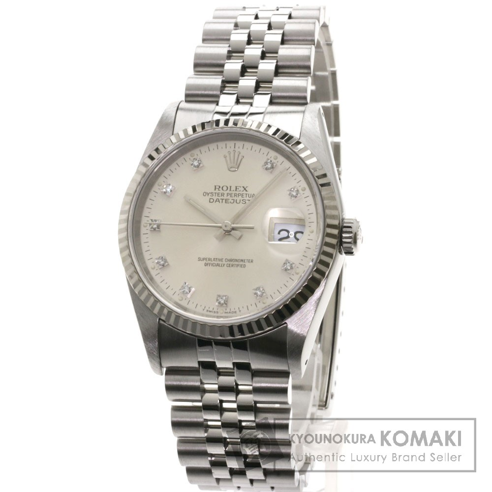 ROLEX 16234G デイトジャスト 10Pダイヤモンド 腕時計 OH済 ステンレス/SS メンズ 【中古】【ロレックス】