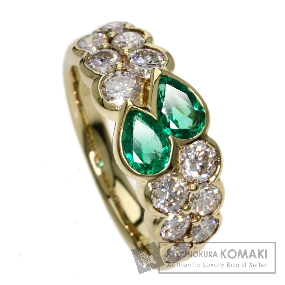 0.62ct エメラルド/ダイヤモンド リング・指輪 K18イエローゴールド 5.7g レディース 【中古】