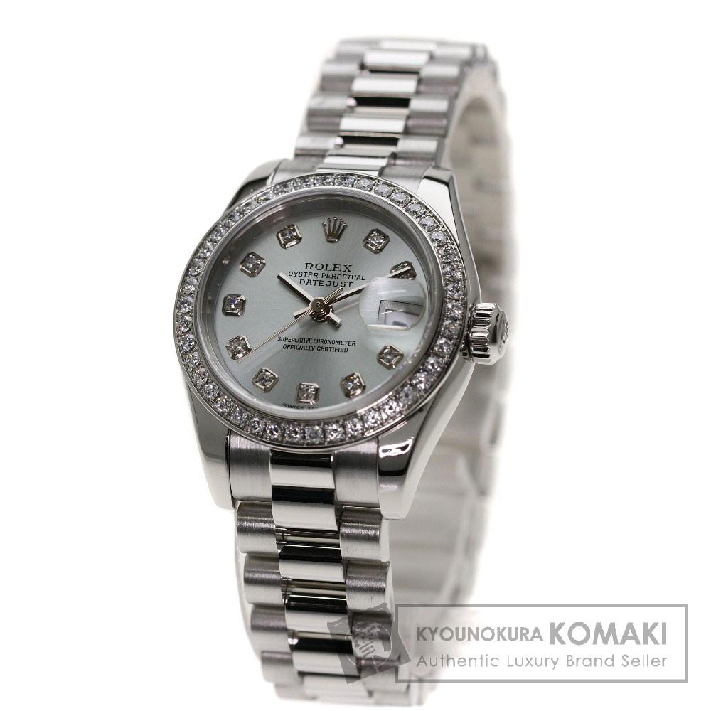 ROLEX 179136G デイトジャスト 10Pダイヤモンド 腕時計 プラチナ/プラチナ/ダイヤモンド レディース 【中古】【ロレックス】