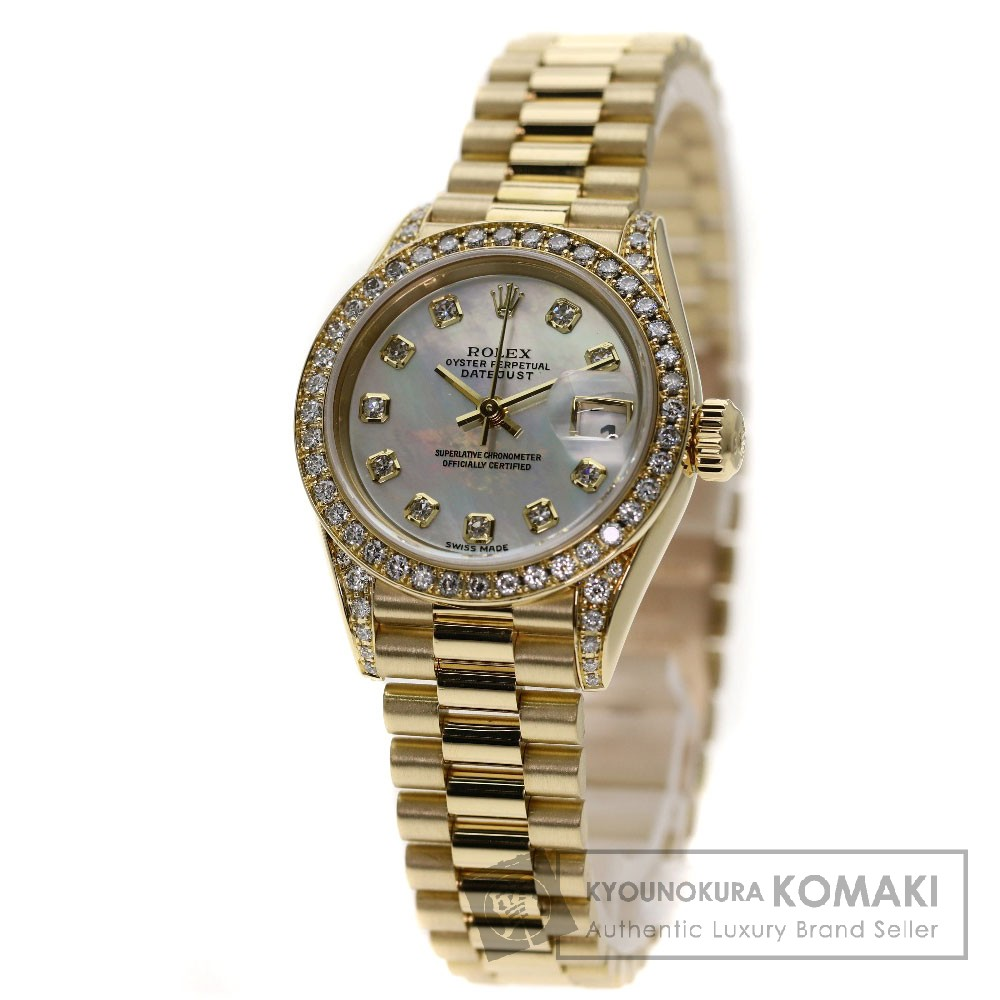 ROLEX 79158NG デイトジャスト 10Pダイヤモンド 腕時計 K18イエローゴールド/K18YG/ダイヤモンド レディース 【中古】【ロレックス】