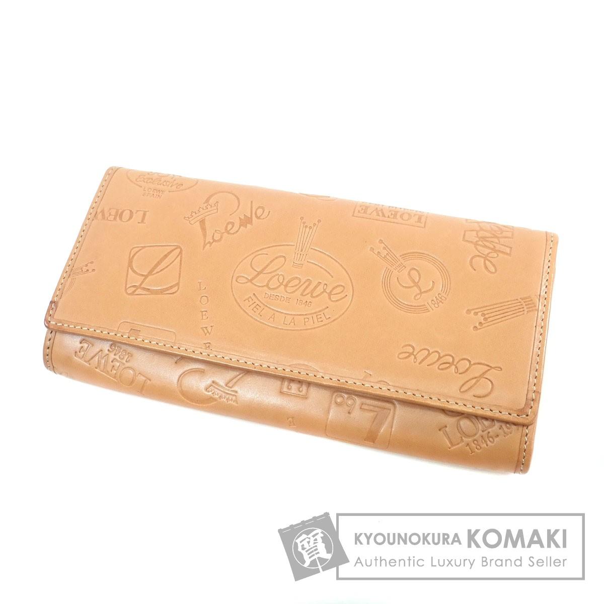 LOEWE ロゴモチーフ 長財布(小銭入れあり) レザー レディース 【中古】【ロエベ】