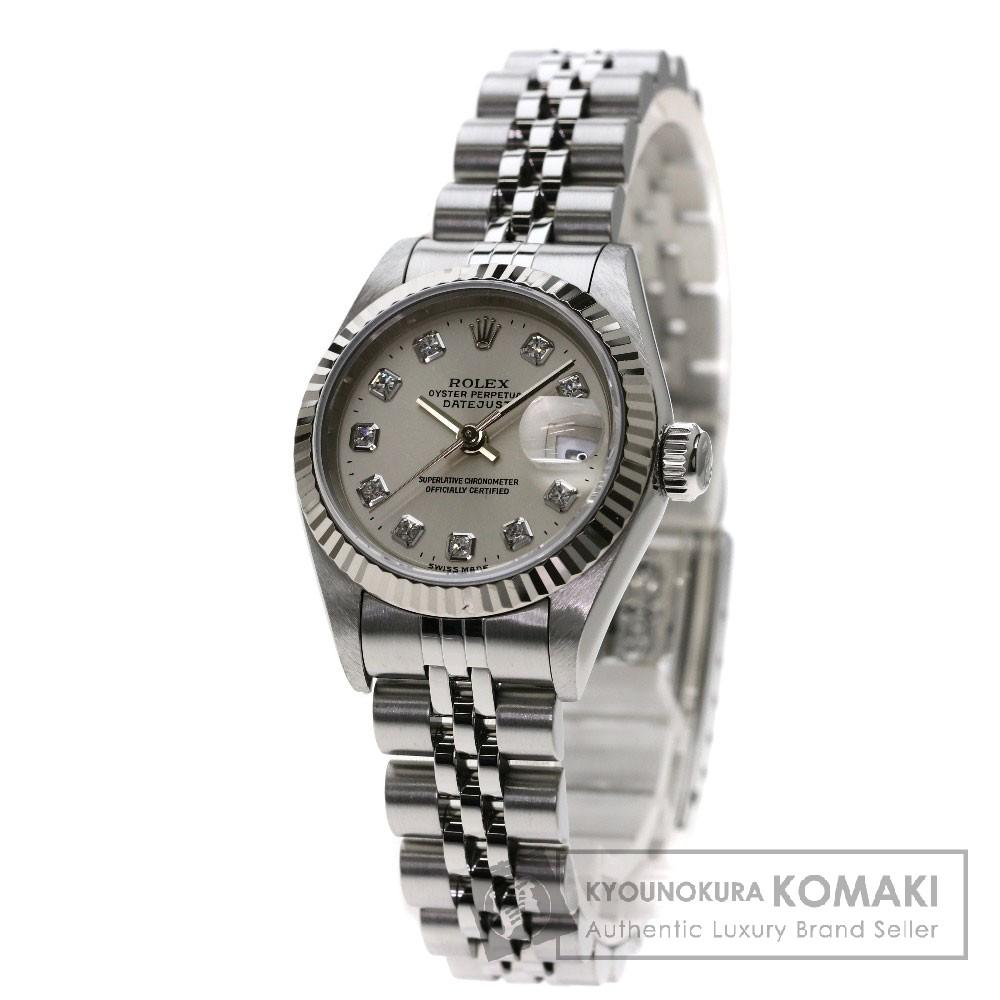 ROLEX 69174G デイトジャスト 10Pダイヤモンド 腕時計 OH済 ステンレス レディース 【中古】【ロレックス】